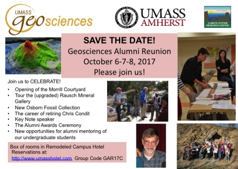 Poster with multiple images and text giving details of Alumni Reunion