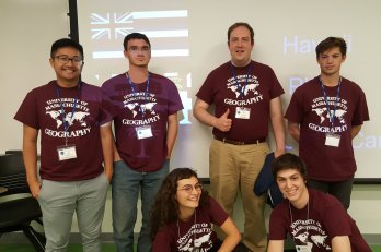 Photo of winning team: left to right, back row: Le Tran, Will Kostick, Kevin Bean, Simon Perreira.   front row: Becca Feidelson, Carson Caraluzzi