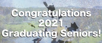 """""""Congratulations Graduating Seniors!"""" text over image of garduates throwing caps into the air superimposed over image of UMass Campus with Holyoke Range in background"""