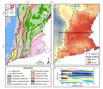 Figure from paper showing map of New England: denoting geology by age on the left, and the depth of the Moho on the right.