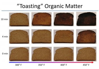 Chart of pictures of toast increasingly blacked with rising temperature. Image Source: Dr. Pratigya Polissar