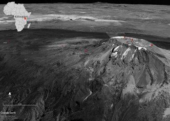 Oblique view of Kilimanjaro and the study sites (Google Earth). Site abbreviations correspond with site names in Table 1 in paper.