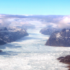 Photo of glacier in mountain vallley
